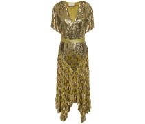 Silk Satin-trimmed Sequined Georgette Midi Dress