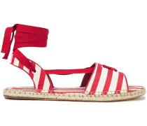 Gestreifte Espadrille-sandalen aus Baumwoll-canvas mit Schnürung
