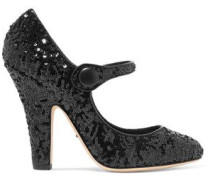 Sequined leather pumps