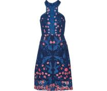 Open knit-trimmed lace dress
