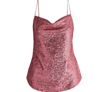 Woman Satin-trimmed Sequined Mesh Camisole Bright Pink