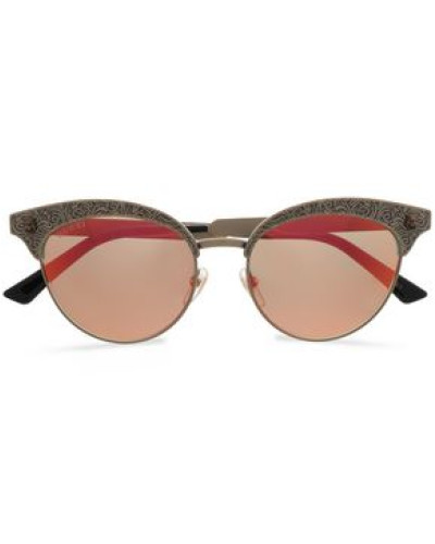 Cat-eye Printed Gold-tone Mirrored Sunglasses Gold Size --