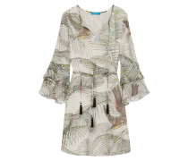 Ruffled Printed Silk Dress Wollweiß