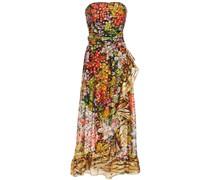 Strapless Metallic Fil Coupé Printed Silk-blend Maxi Dress