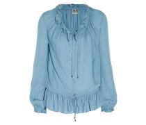 Ruffled Silk-crepe Blouse Azurblau