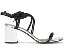 Leather-trimmed Knotted Satin Sandals