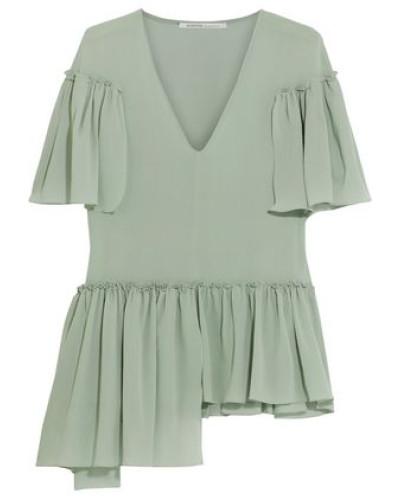 Aymmetric ruffled silk-blend crepe blouse