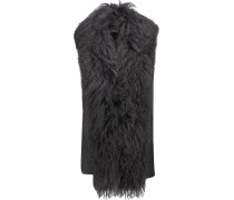 Shearling-trimmed Ribbed Merino Wool Vest Schiefer