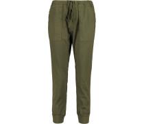 Cotton-twill Tapered Pants Armeegrün