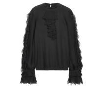 Ruffled Wool-blend Sweater Schwarz