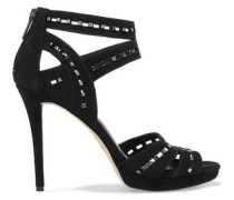 Studded cutout suede sandals