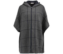 Chain-trimmed printed cashmere hooded jacket