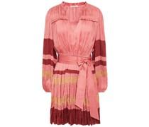 Striped Plissé-satin Mini Dress