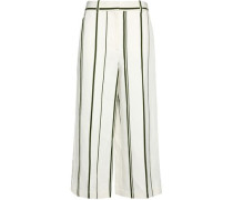 Striped cotton and linen-blend culottes