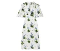 Ruffled Floral-print Silk-satin Midi Dress