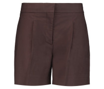 Pleated Cotton-blend Shorts Burgunder