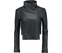 Connix Leather Biker Jacket Petrol