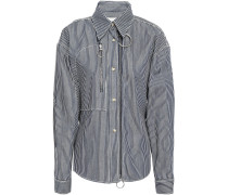 Belted Zip-detailed Striped Denim Shirt