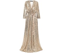 Satin-trimmed Sequined Silk-chiffon Wrap Gown