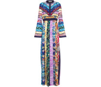 Woman Desmine Pleated Printed Crepe De Chine Maxi Dress Multicolor