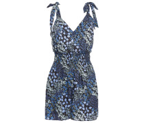 Woman Ava Shirred Floral-print Silk-jacquard Playsuit Navy
