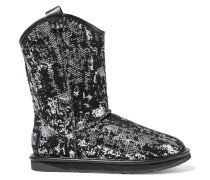 Cowboy Flocked Sequined Shearling Boots Silber
