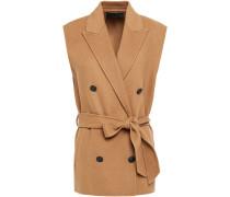 Double-breasted Wool-blend Felt Vest