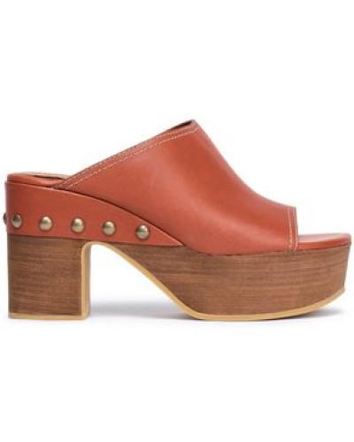 Studded Leather Clogs Brick
