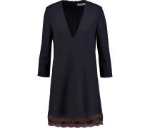 Lace-trimmed Stretch-wool Mini Dress Mitternachtsblau