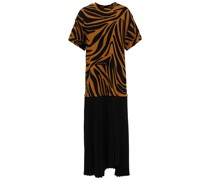 Pleated Crepe And Zebra-print Cotton-jersey Midi Dress