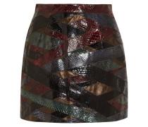 Patchwork Python And Metallic Leather Mini Skirt Burgunder