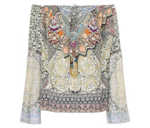 Woman Off-the-shoulder Georgette-paneled Printed Silk Crepe De Chine Top Multicolor
