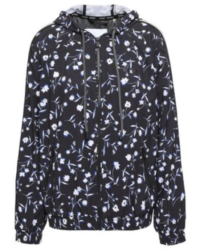 Woman Floral-print Scuba Hooded Track Jacket Black