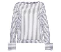 Lavarone Striped Cotton-poplin Top Blau
