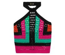 Cropped open-knit halterneck top