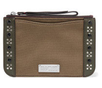 Roxy Embellished Leather-trimmed Canvas Pouch Armeegrün