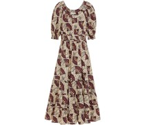 Nora Gathered Printed Cotton-poplin Midi Dress