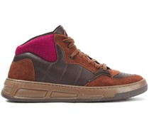 Neoprene-paneled Leather And Suede Sneakers