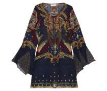 Lace-up Crystal-embellished Printed Silk-chiffon Mini Dress