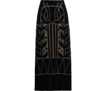 Ashina velvet and mesh maxi skirt