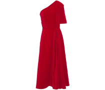 Jenna One-shoulder Gathered Cotton-velvet Midi Dress