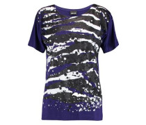 Glittered printed stretch-jersey T-shirt