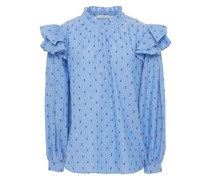 Idonia Ruffle-trimmed Fil Coupé Cotton-chambray Blouse