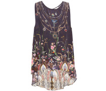 Woman Asymmetric Crystal-embellished Printed Silk Crepe De Chine Top Grape