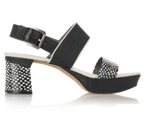 Keira Paneled Leather And Woven Raffia Sandals Schwarz