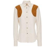 Kariertes Hemd aus Baumwoll-popeline mit Besatz aus Velourslederimitat