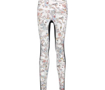 Lima paneled printed stretch-jersey leggings