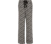 Avery Printed Washed-silk Pajama Pants Schwarz