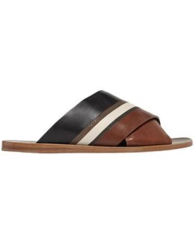 Woman Bead-embellished Color-block Leather Slides Brown