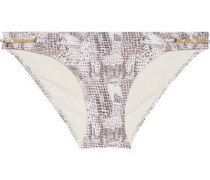 Sun Dappled Decadence low-rise embellished snake-print bikini briefs